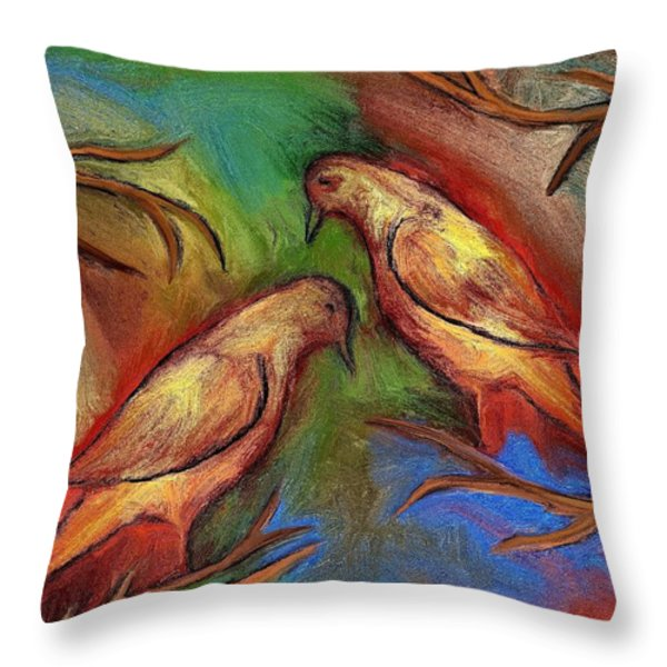 Pigeons Throw Pillow by Rafi Talby