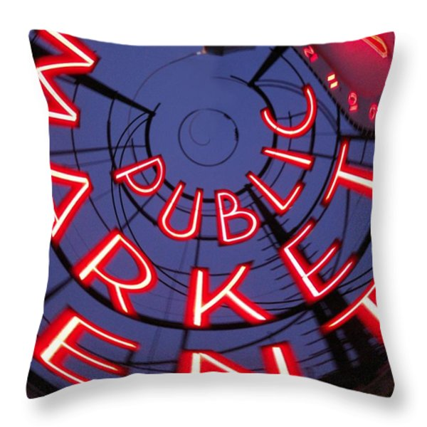 Pike Place Market Entrance Throw Pillow by Tim Allen