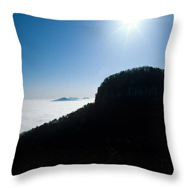 Pilot Mountain Throw Pillow by John Harmon
