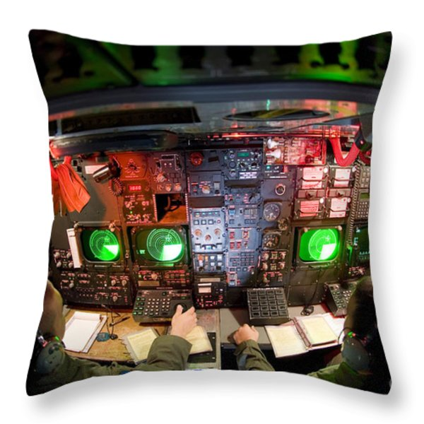 Pilots At The Controls Of A B-52 Throw Pillow by Stocktrek Images