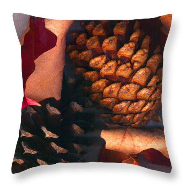 Pine Cones and Leaves Throw Pillow by Nancy Mueller