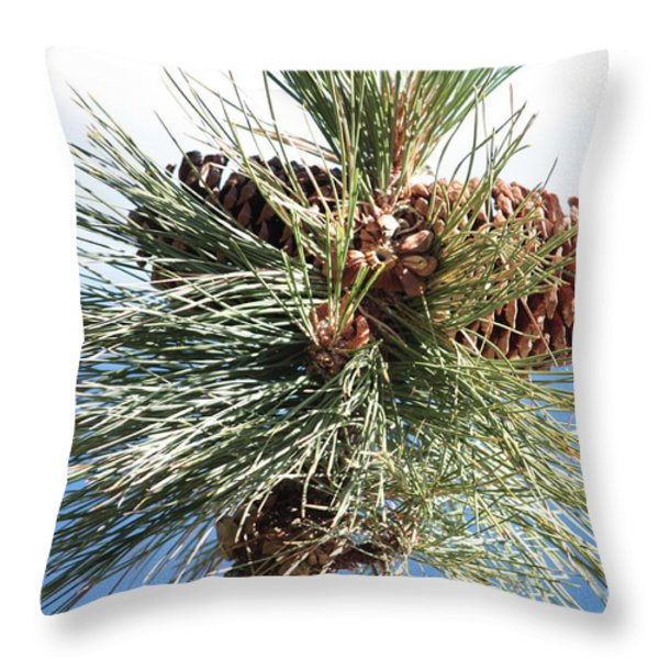 Pine Cones Over Lake Tahoe Throw Pillow by Carol Groenen