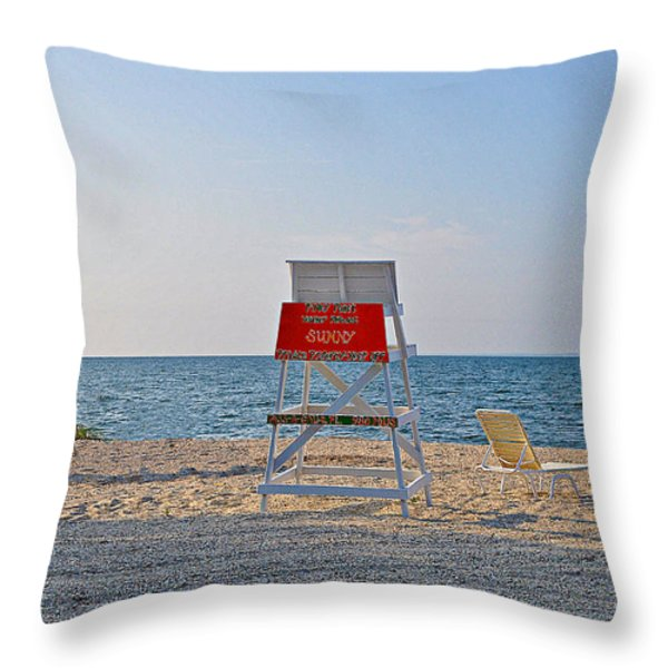 Piney Point Beach Throw Pillow by Bill Cannon