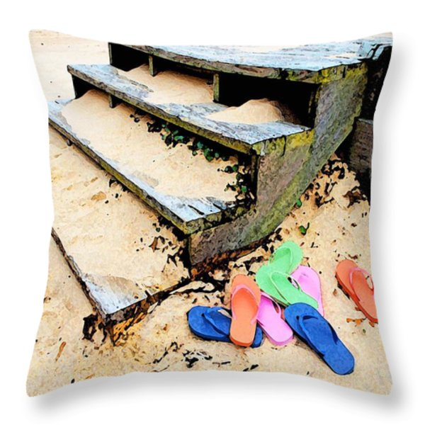 Pink And Blue Flip Flops By The Steps Throw Pillow by Michael Thomas