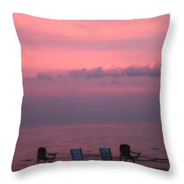 Pink And Deserted Throw Pillow by Karol  Livote