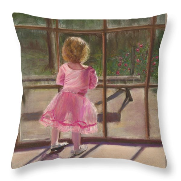Pink Ballerina Throw Pillow by Kathy Wood