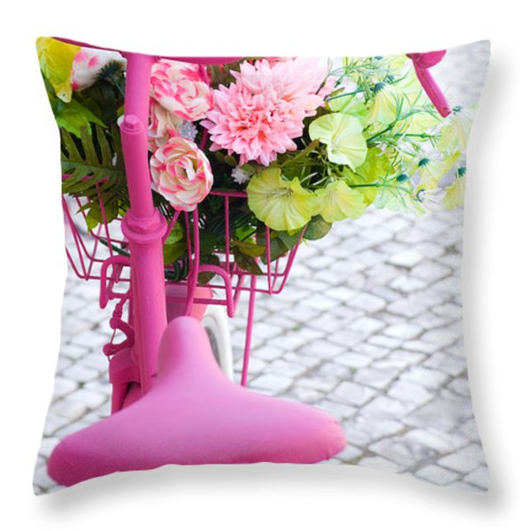 Pink Bike Throw Pillow by Carlos Caetano