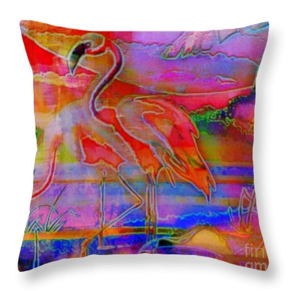 Pink Flamingos Throw Pillow by WBK