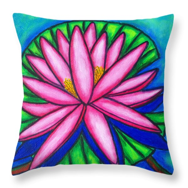 Pink Gem 2 Throw Pillow by Lisa  Lorenz