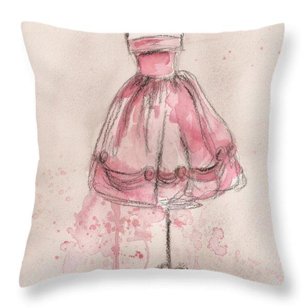 Pink Party Dress Throw Pillow by Lauren Maurer