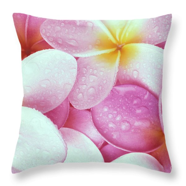 Pink Plumeria Throw Pillow by Carl Shaneff - Printscapes