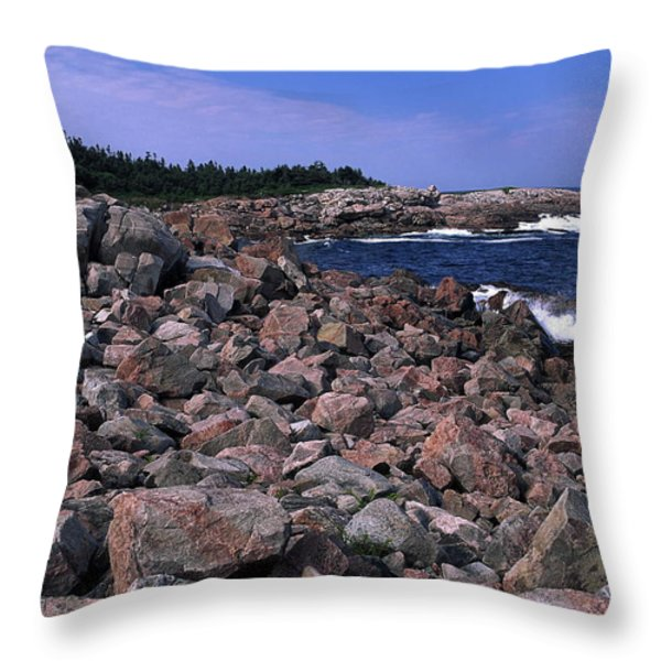 Pink Rock Shoreline Throw Pillow by Sally Weigand