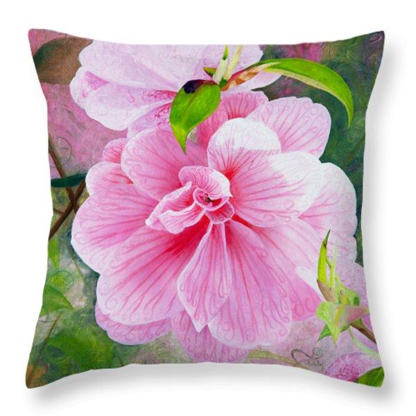 Pink Swirl Garden Throw Pillow by Shelley Irish