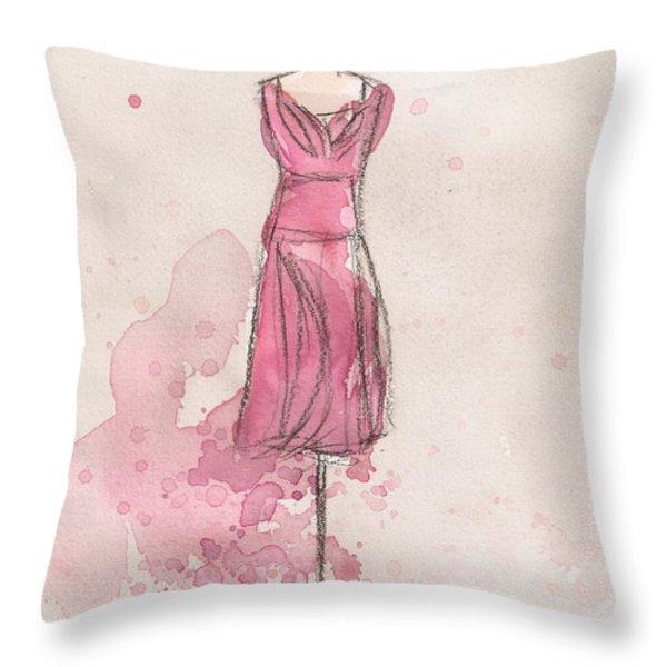 Pink Tulip Dress Throw Pillow by Lauren Maurer
