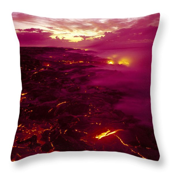 Pink Volcano Sunrise Throw Pillow by Ron Dahlquist - Printscapes