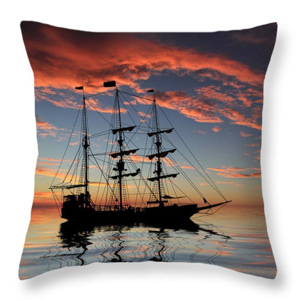 Pirate Ship at Sunset Throw Pillow by Shane Bechler