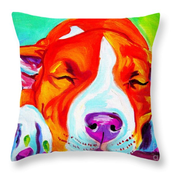 Pit Bull - Naptime Throw Pillow by Alicia VanNoy Call