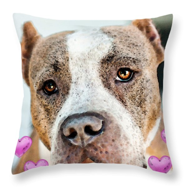 Pit Bull Dog - Pure Love Throw Pillow by Sharon Cummings