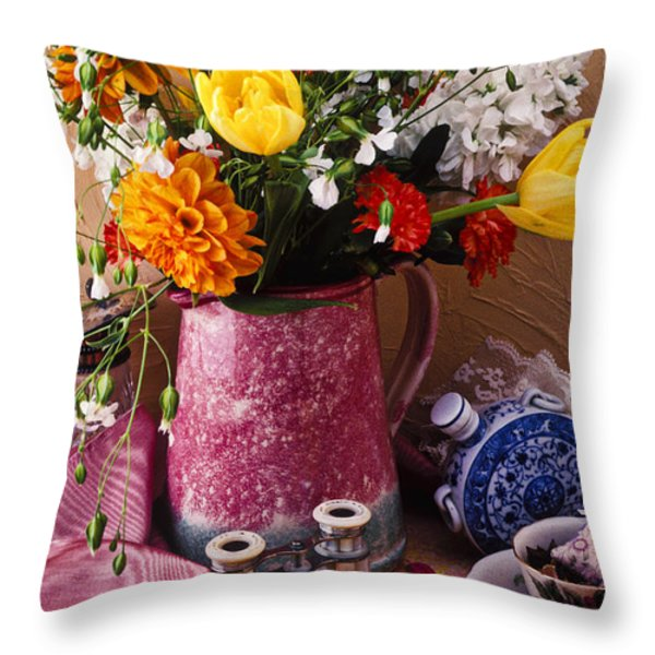Pitcher Of Flowers Still Life Throw Pillow by Garry Gay