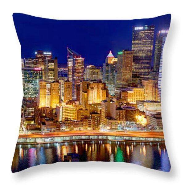 Pittsburgh Pennsylvania Skyline At Night Panorama Throw Pillow by Jon Holiday