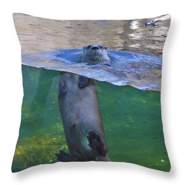 Playful Otter Throw Pillow by Kat Besthorn
