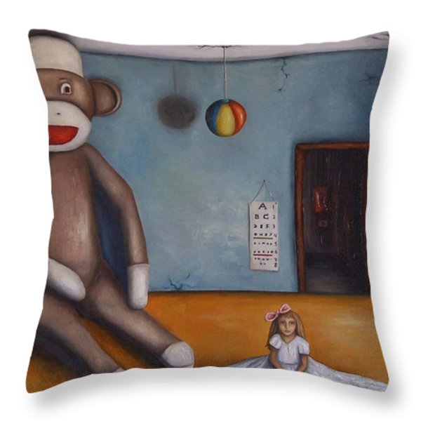 Playroom Nightmare Throw Pillow by Leah Saulnier The Painting Maniac