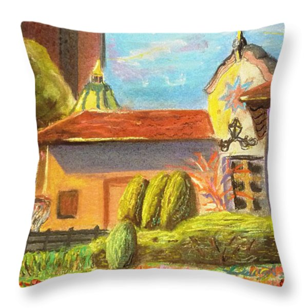 Plaza View From Canal Throw Pillow by Darya Tyshlek