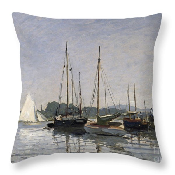 Pleasure Boats Argenteuil Throw Pillow by Claude Monet