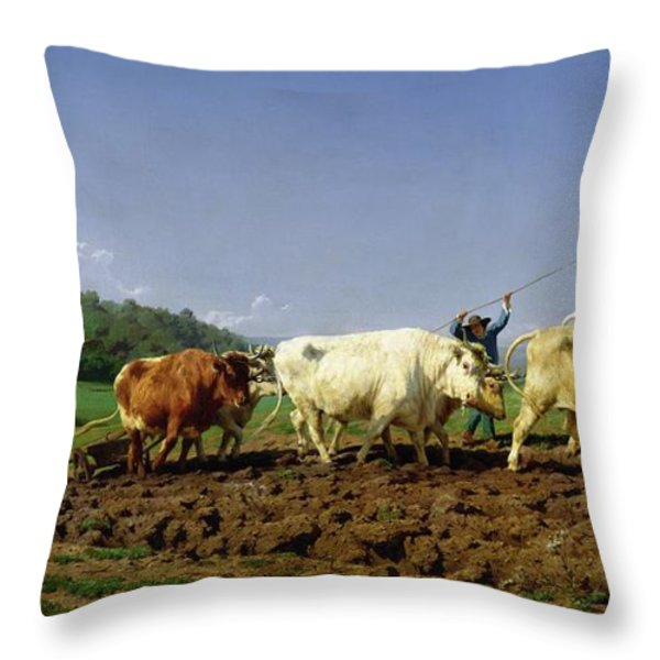Ploughing In Nivernais Throw Pillow by Rosa Bonheur