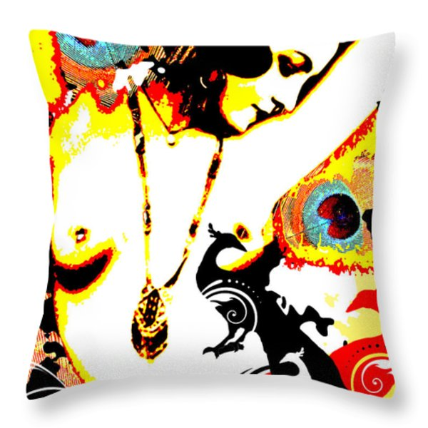 Poetic Peacock Throw Pillow by Chris Andruskiewicz