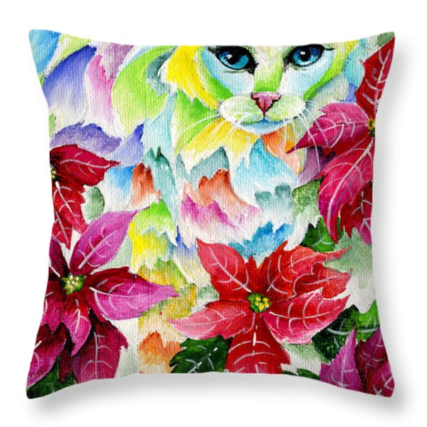 Poinsettia Sweetheart Throw Pillow by Sherry Shipley