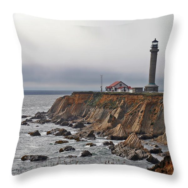 Point Arena Lighthouse CA Throw Pillow by Christine Till