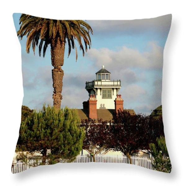 Point Fermin Light - San Pedro - Southern California Throw Pillow by Christine Till
