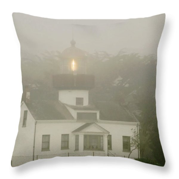 Point Pinos Lighthouse in a foggy night - Pacific Grove Monterey Central CA Throw Pillow by Christine Till