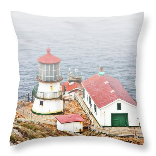 Point Reyes Lighthouse at Point Reyes National Seashore CA Throw Pillow by Christine Till