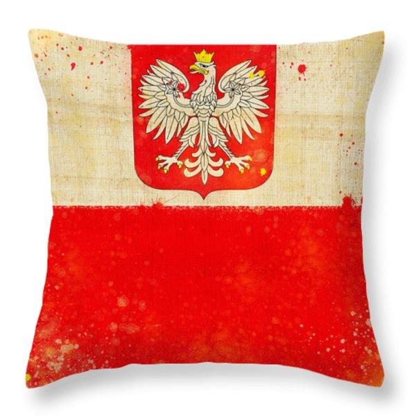 Poland flag Throw Pillow by Setsiri Silapasuwanchai