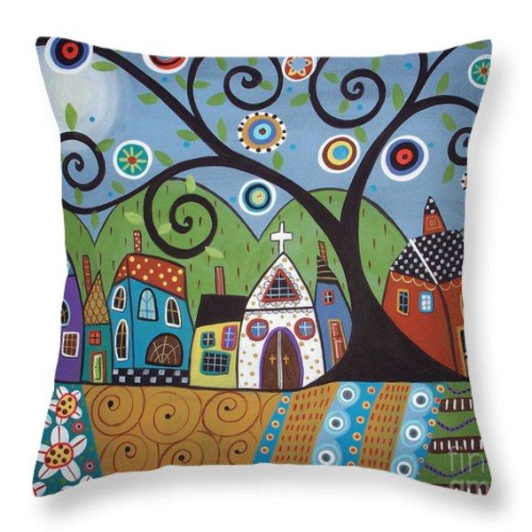 Polkadot Church Throw Pillow by Karla Gerard