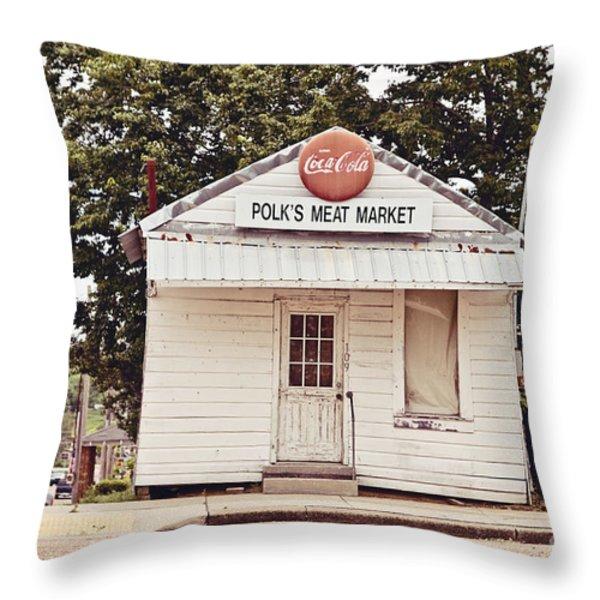 Polk's Meat Market Throw Pillow by Scott Pellegrin