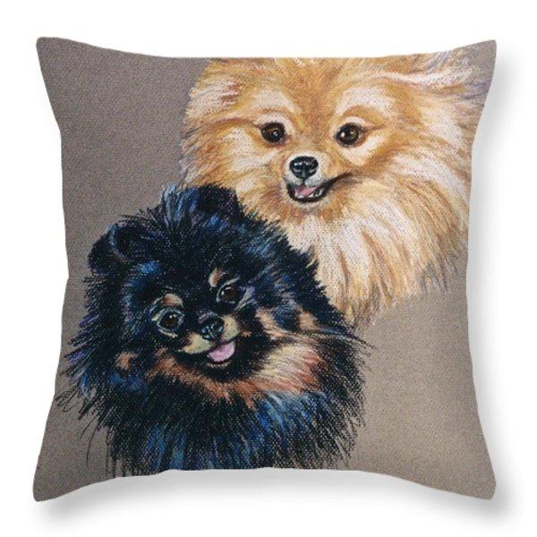 Pomeranian Pair Throw Pillow by Susan Herber