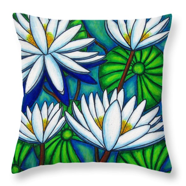 Pond Jewels Throw Pillow by Lisa  Lorenz