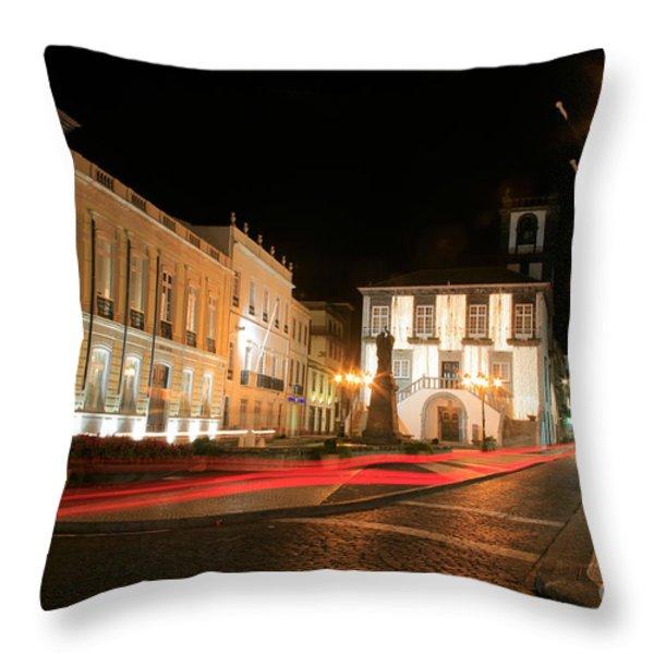 Ponta Delgada At Night Throw Pillow by Gaspar Avila