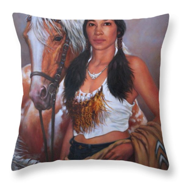 Pony Maiden Throw Pillow by Harvie Brown