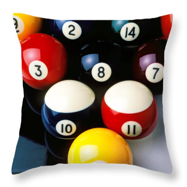 Pool balls on tiles Throw Pillow by Garry Gay