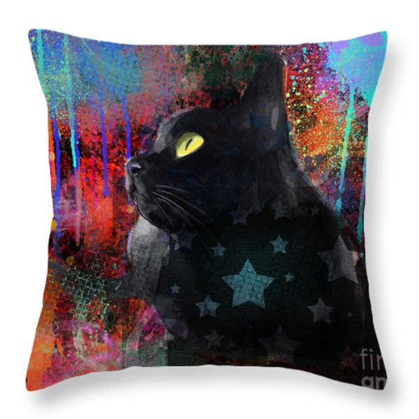 Pop Art Black Cat painting print Throw Pillow by Svetlana Novikova