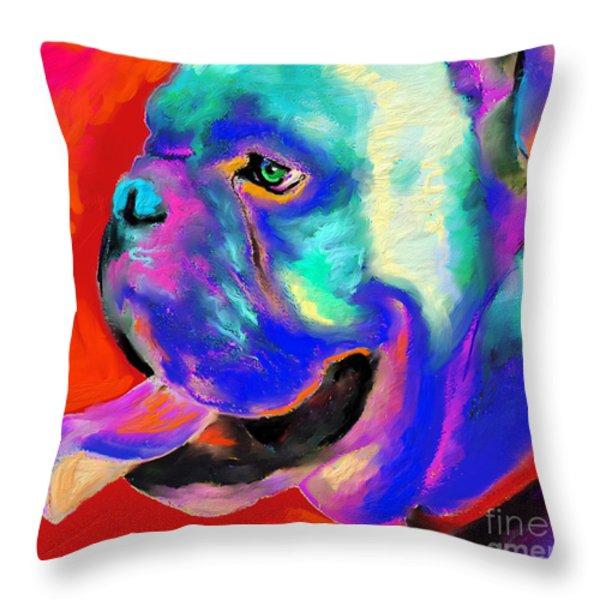 Pop Art English Bulldog Painting Prints Throw Pillow by Svetlana Novikova