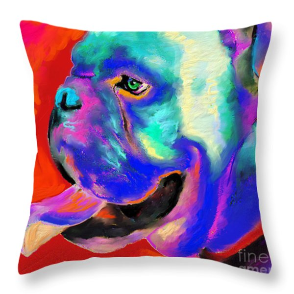 Pop Art English Bulldog painting prints Throw Pillow by Svetlana Novikova