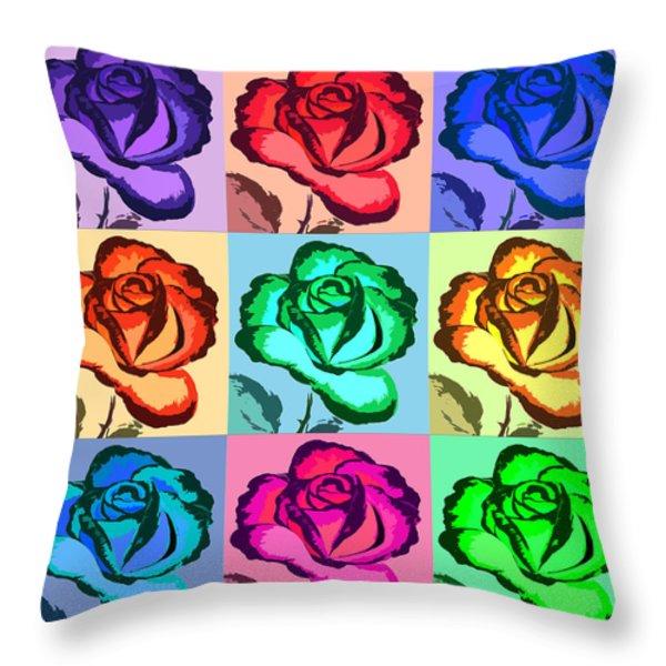 Throw Pillows - Pop Art Roses - Square Throw Pillow by Gina De Gorna