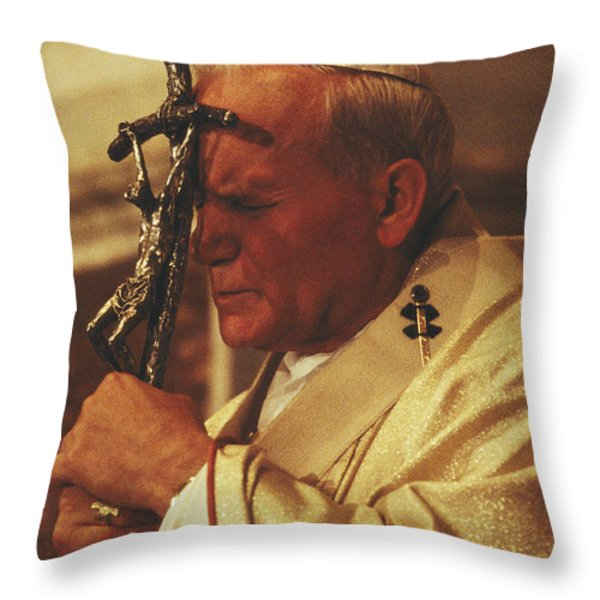 Pope John Paul II Prays With A Bishops Throw Pillow by James L. Stanfield