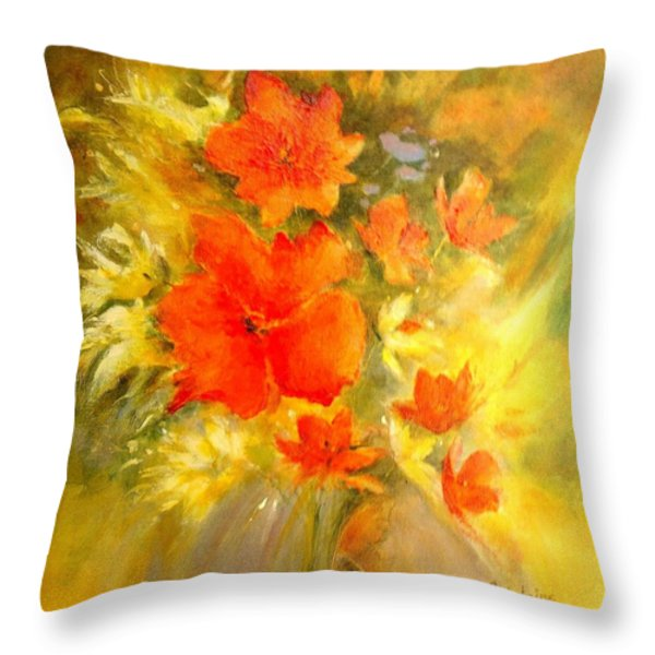Poppy Bouquet  Throw Pillow by Madeleine Holzberg