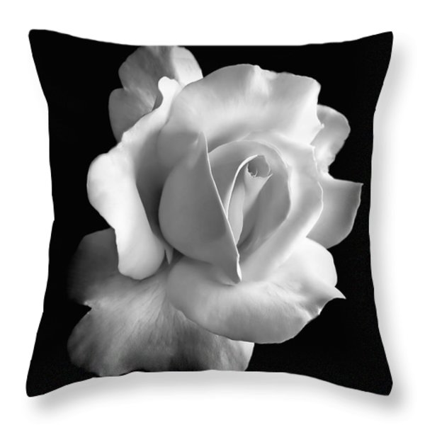 Porcelain Rose Flower Black And White Throw Pillow by Jennie Marie Schell